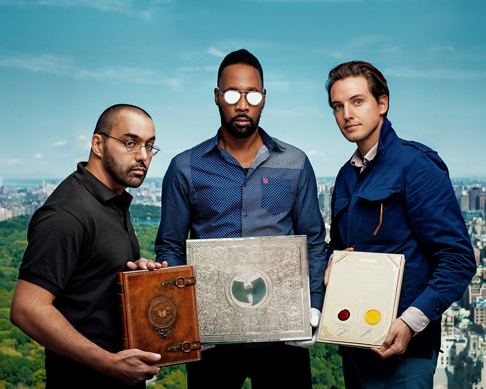 Cilvaringz, RZA and Alexander Gilkes with the single copy of Wu-Tang Clan's Once Upon A Time In Shaolin.