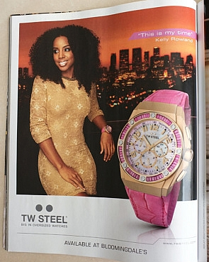 Kelly Rowland TW Steel ad in Harper's Bazaar (US August 2012 edition)